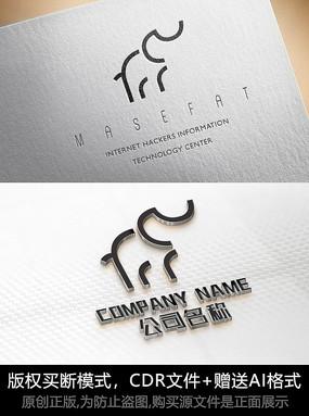 线条大象logo标志简约商标设计