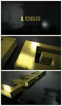 震撼大气E3D黄金LOGO视频模板