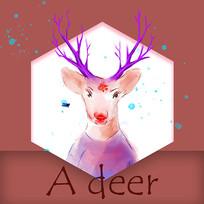 紫色鹿角梦幻鹿头手绘表情元素
