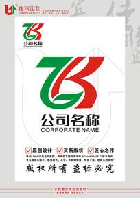 ZK英文字母绿叶农业标志设计