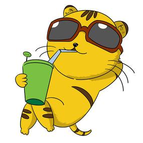 戴墨镜喝饮料的肥猫表情包