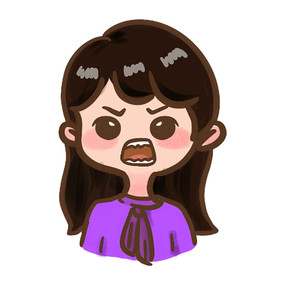 发怒的紫衣服小姑娘表情包