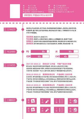 粉色A4纸打印简历