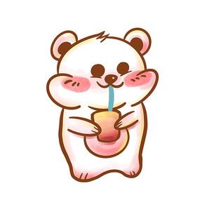 卡通粉色小熊表情包 PSD