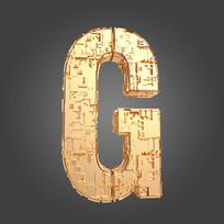 金属机械感立体字母G