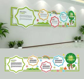 绿色清新校园幼稚园幼儿园文化墙