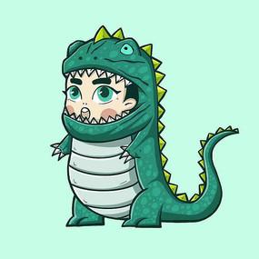 恐龙卡通插画表情包 PSD