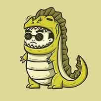 绿色恐龙装小男孩原创手绘表情包