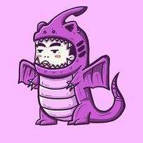 紫色翼龙小男孩原创手绘表情包