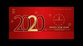 红色创意2020新春新年宣传展板