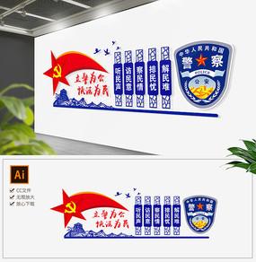 蓝色警察文化墙公安形象墙