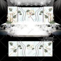 白绿色大理石纹婚礼婚庆舞台背景板