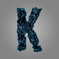 金属流体炫酷字母K