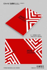 红色几何线条画册封面