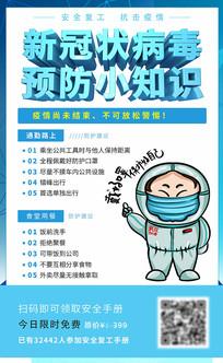 蓝色新冠状病毒预防小知识海报