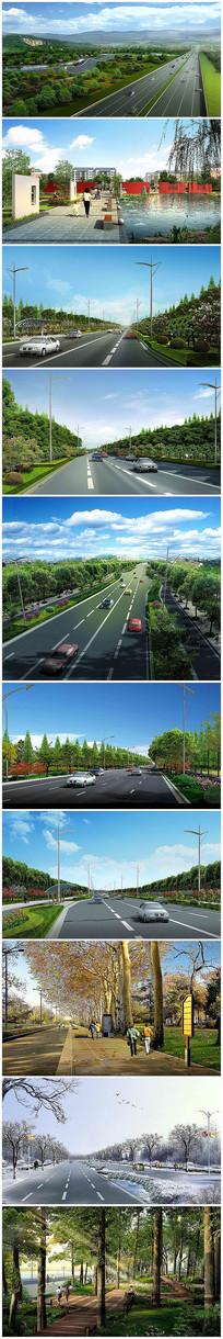道路景观改造设计psd效果图后期源文件