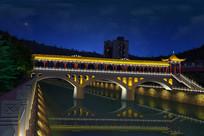 古建桥廊照明效果图河道亮化