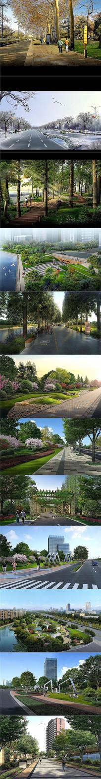 12套细分层道路街心公园景观PSD效果图