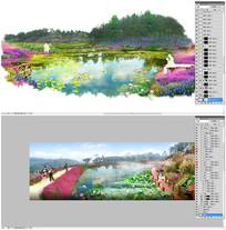 荷塘花海荷花景区观光园区效果图分层素材