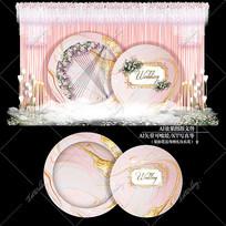 粉金色主题婚礼效果图设计婚庆迎宾区背景