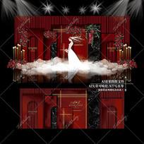 红黑色泰式主题婚礼效果图设计大理石背景