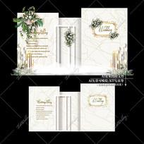 香槟色婚主题礼效果图设计白金婚庆迎宾区