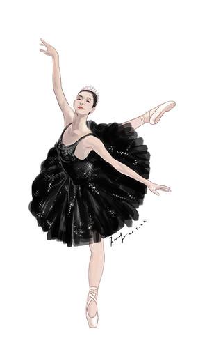 芭蕾舞黑天鵝人物插畫 PSD