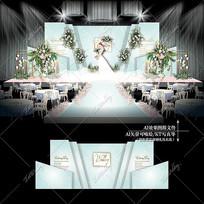 白绿色主题婚礼大理石纹婚庆舞台背景效果图
