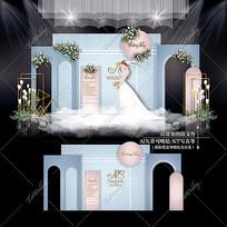 莫兰迪色系主题婚礼效果图设计婚庆背景
