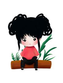 原创可爱卡通坐在木头上的女孩
