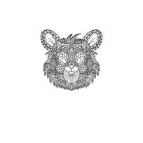 原创老鼠黑白线条插画