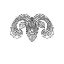 原创山羊黑白线条插画