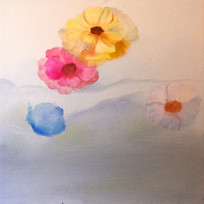 手绘抽象鲜花花瓣油画无框画