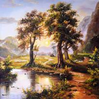 手绘森林公园风景油画图