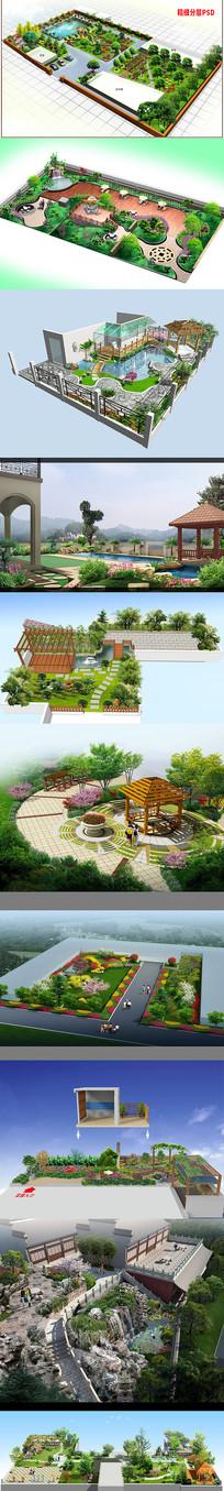10套私家庭院屋顶花园景观PSD效果图