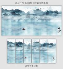 蓝色山水风景壁画