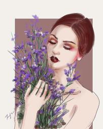 捧紫色花的女人