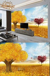招财风景金色发财树摇钱树爱心树背景墙