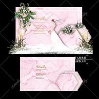 粉色婚礼舞台宴会效果图设计韩式迎宾区