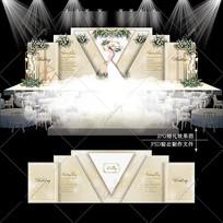 香槟色婚礼效果图设计大理石婚庆舞台背景