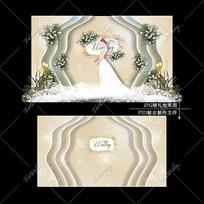 香槟色婚礼效果图设计简约复古婚庆迎宾区