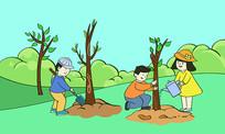 原创卡通风儿童植树节野外种树场景PSD