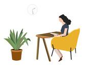 原创手绘插画扁平看书的女人素材AI