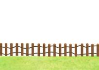 原创手绘插画户外草坪栏杆素材PSD