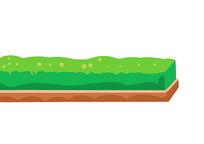 原创手绘插画绿色草坪卡通素材PSD