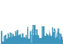 原创手绘简约城市剪影插画素材PSD