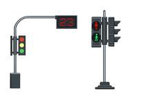原创手绘交通安全红绿灯人行灯素材PSD