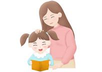 原创手绘卡通母女插画看书学习PSD