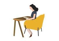 原创手绘女孩坐在桌前看书素材AI