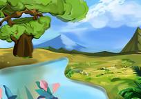 原创手绘写实户外风景山水素材PSD